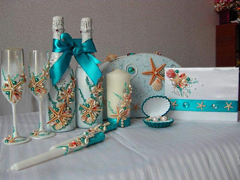 Изготовлю аксессуары для вашей неповторимой свадьбы в морском стиле,в красивом бирюзовом цвете с морскими звездами и